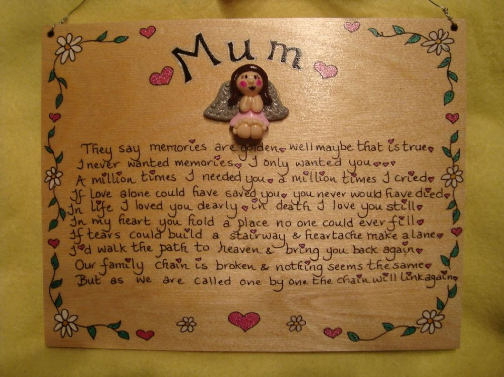 3d Angel  Memorial Wooden Sign Handmade Unique Item Personalised Plaque Memories Are Golden Crematorium Garden Grave